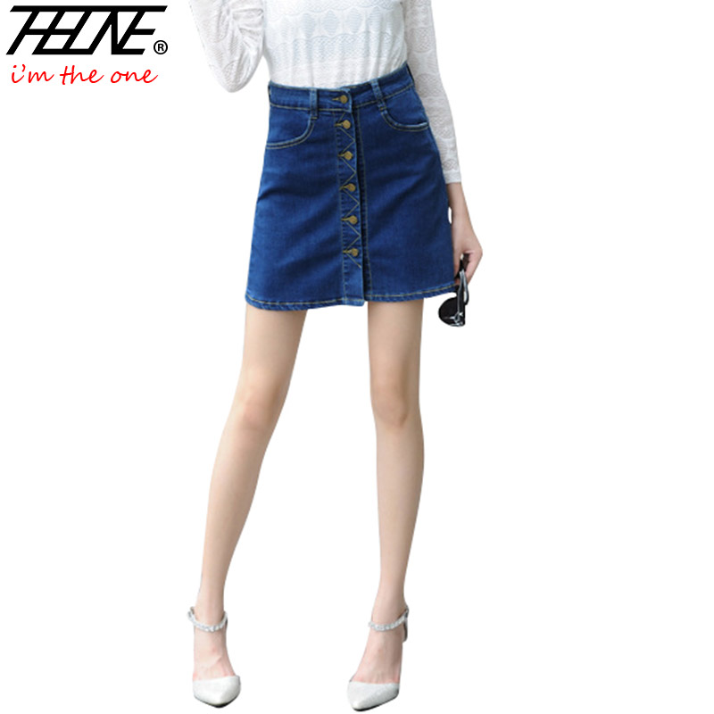 THHONE A Line Denim Skirts Women Button Up Design Fashion ...