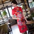 Free shipping china dress Qipao Cheongsam national trend chinese traditional dress Blend Silk Rayon Qipao dress