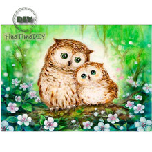 FineTime 5D Two Owls DIY Animals Diamond Painting Partial Round Drill Diamond Embroidery Mosaic Cross Stitch finetime animals owls dogs cats 5d diy diamond painting partial round drill diamond embroidery cross stitch
