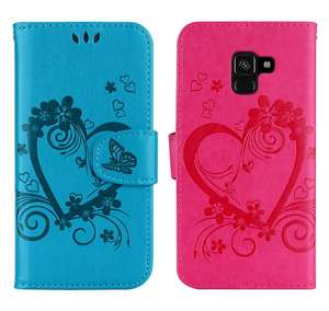 Love Embossing Book Covers For Samsung Galaxy A3 2016 A5 2018 A7 2017 S5 Mini S6 S7 Edge