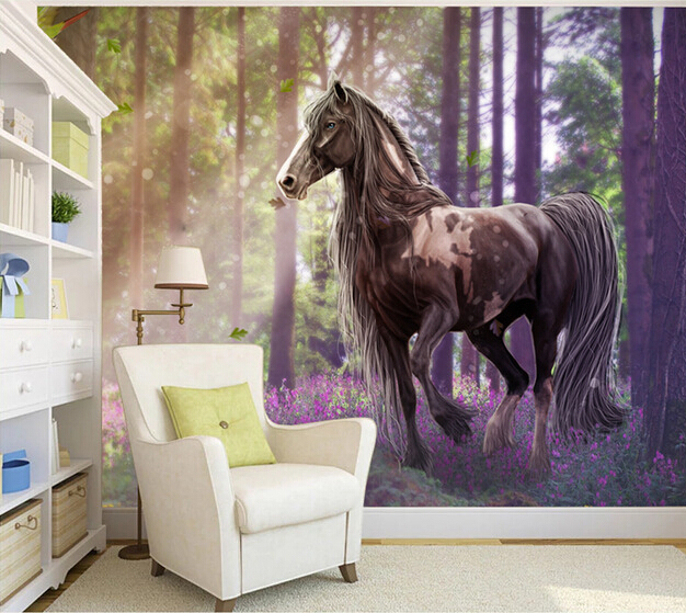 Custom horse wallpaper 3D, forest horse murals for the living room TV background wall waterproof fabric papel de parede custom 3d wallpaper flower murals for the living room bedroom tv background wall vinyl papel de parede