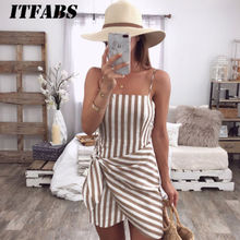 Womens Holiday Summer Dress 2019 New trendy Ladies Sleeveless Spaghetti Striped Cocktail Beach Slim Mini Short Dresses