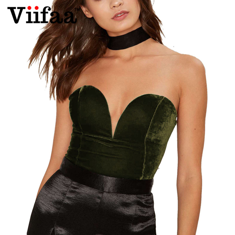 Viifaa Green Backless Sexy Velvet Bodysuit Women Lace-Up Elegant Night Out Clubwear Off Shoulder Party V Neck Streetwear Bodys