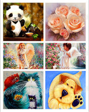 Diamond Painting,Cross Stitch,Cartoon,5D,DIY,Diamond Embroidery,3D,Full Round,Home Decor,Animals,Flowers,Rose,Dogs(China)