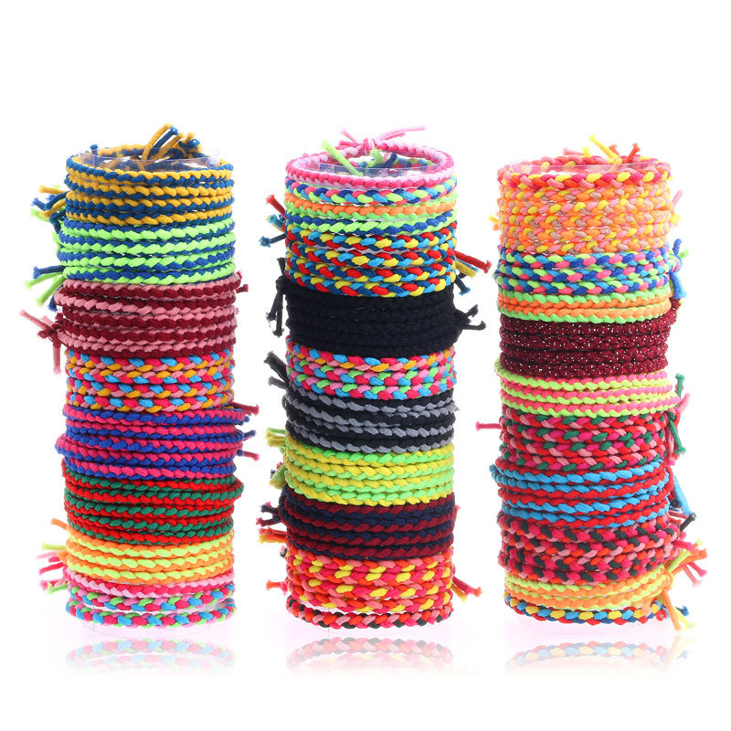 20pcs New Fashion Women Girls Colorful Braided Elastic Hair Bands Rubber Bands Party Hairband Rope Ponytail Holder Hair Rope Hot