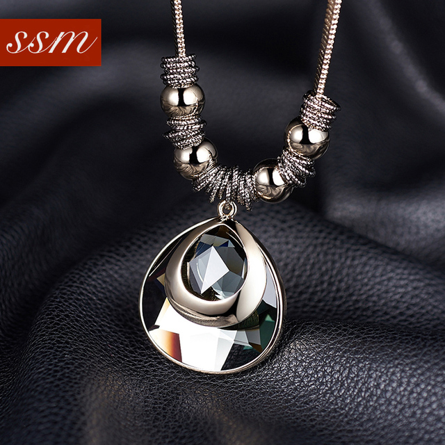 famous brand water drop Beauty sweater chain long necklace exaggerated female cute retro white crystal Bohemian Vintage Pendant
