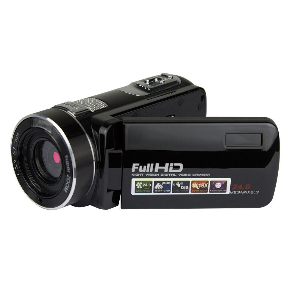 Durable 24 millones de píxeles con enchufe cámara Digital infrarroja grabadora de mano pantalla LCD visión nocturna videocámara HD 1080P