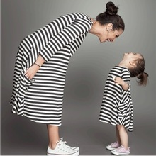 Fashion mom and kids couple look stripe family matching outfits Baby Girls clothes dress mother daughter Children dress clothing(China)