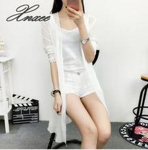 Summer Chiffon Cardigan Sun Protection clothing Long Blouse  Beach White female Fashion Tops