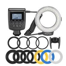 RF 550D 48 قطعة ماكرو LED حلقة فلاش حزمة مع 8 محول حلقة لكانون نيكون بنتاكس أوليمبوس باناسونيك DSLR فلاش كاميرا فولت HD130