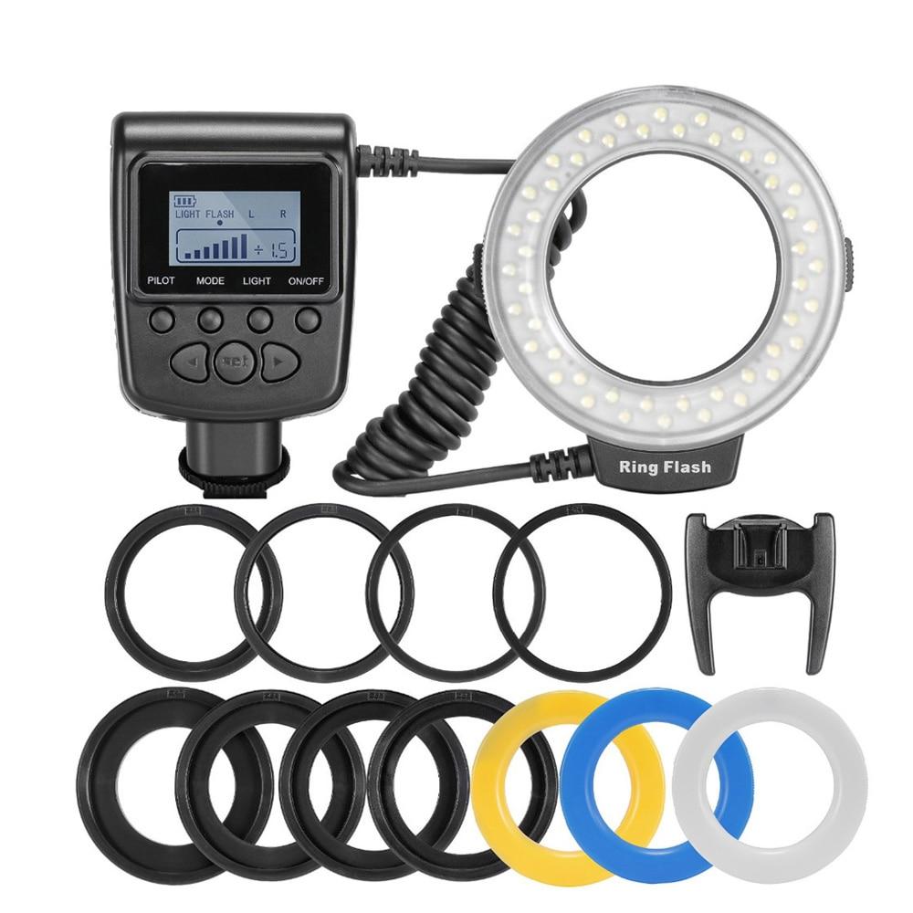 Светодиодная Кольцевая вспышка для макросъемки, 48 шт., с 8 переходными кольцами, для Canon, Nikon, Pentax, Olympus, Panasonic, DSLR, V, HD130