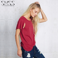 SMSS Summer Western Style Fashion Cute Loose Solid Color Hollow Out Short Sleeve 3 Colors SML