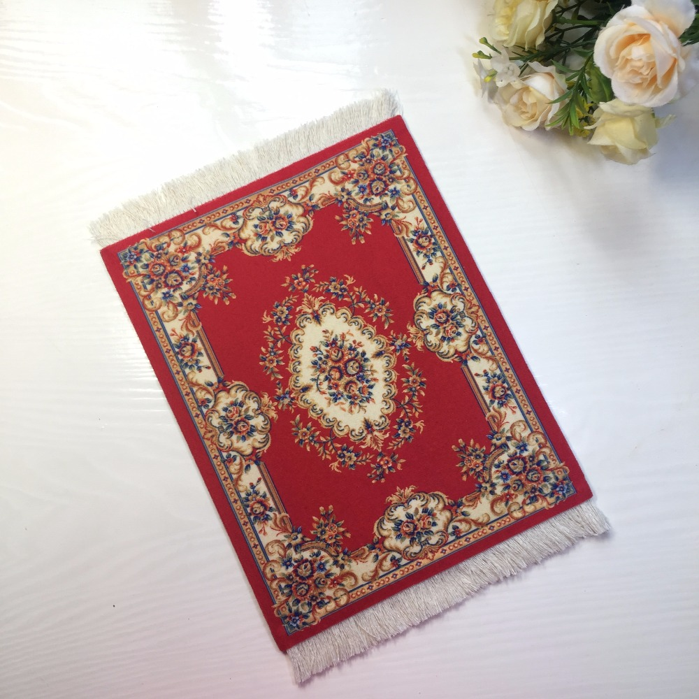 Nworld Retro Style 28x18cm Persian Rug Mat Mousepad Carpet Table Cup Mouse Pad Red For Speed Pattern Play Mat