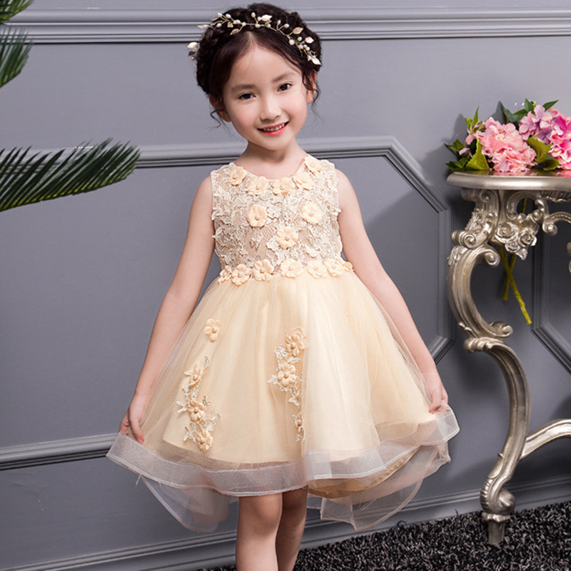 Girl Dress Wedding Princess Dress Flower Girl Dress Beaded Flower Christmas Performance Dress Girl 3-14 Year Girl Clothes girl
