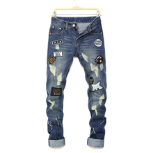 The New Dark blue Men jeans Patch Personality male pants Hole Patch Badge Embroidery Mens trousers jeans masculina