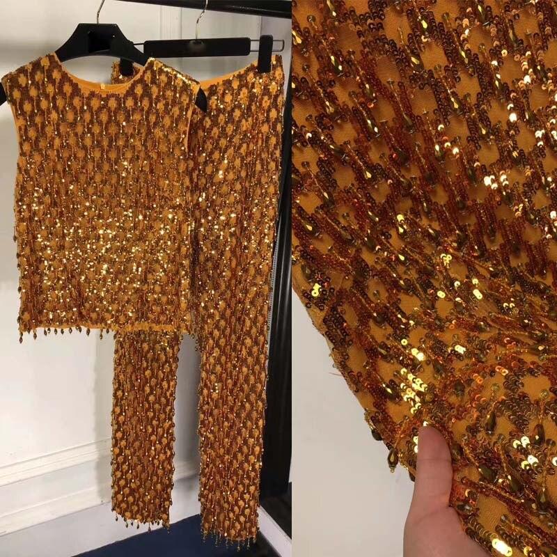 Suit Pants Sequin Dress Women Two-Piece-Set Gild-Dress Top And Ste Amazing Heavy-Industry