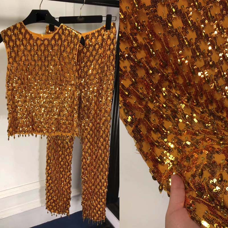 Heavy Industry Dress Women's Suit Luxurious Two Piece Set Amazing Sequin Dress  Women 2 Piece Ste Top And Pants Gild Dress