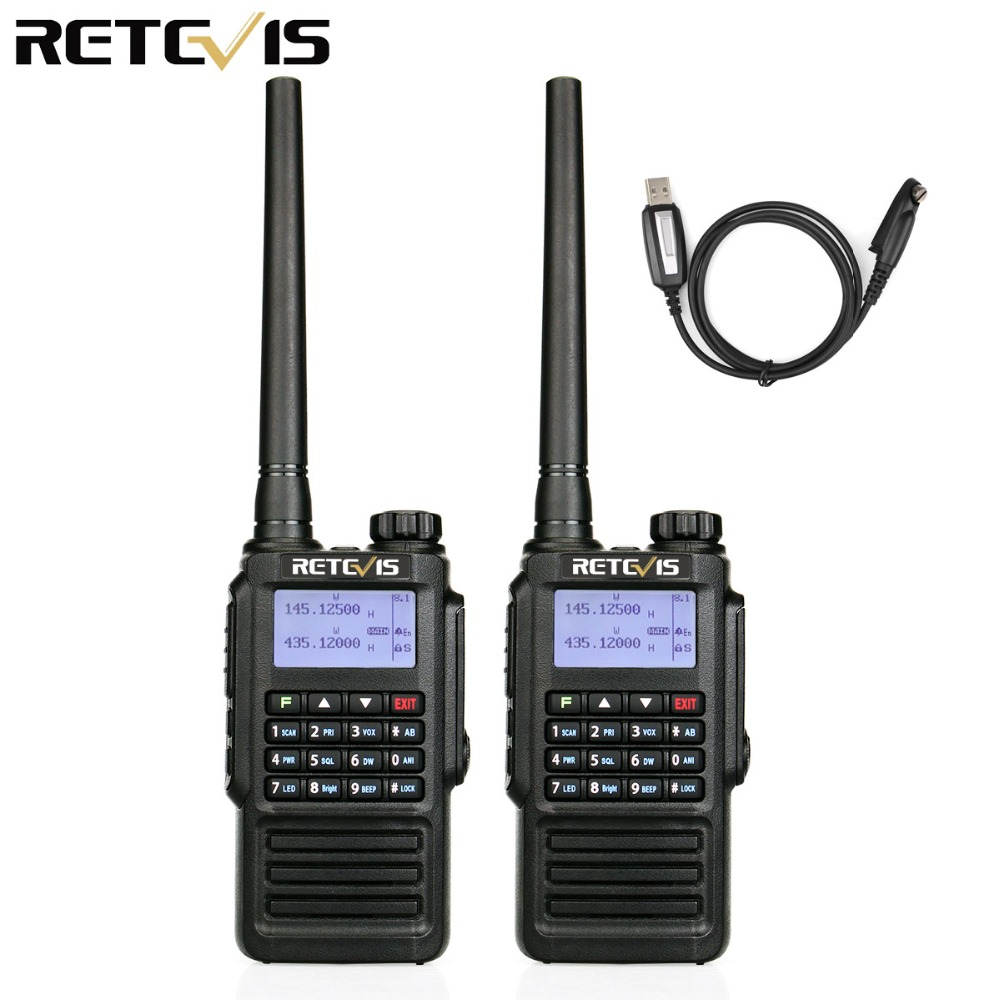 2pcs Waterproof IP67 Retevis RT87 Walkie Talkie Amateur Radio Dual Band VHF UHF DTMF for Hams to use for outdoor