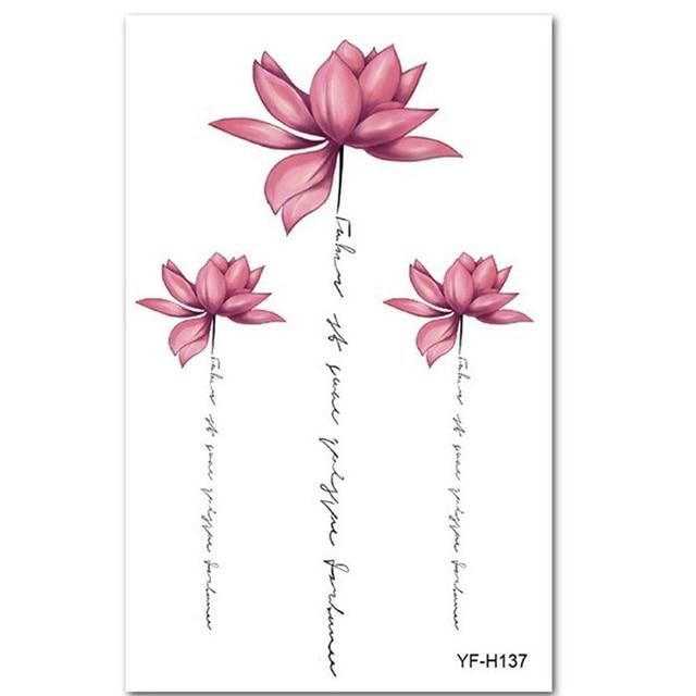 5ab44b74f Shellhard Womens Waterproof Temporary Lotus Tattoo Sticker Pink Lotus  Flower Tattoo Sticker For Body Art Tattoo Stickers-in Temporary Tattoos  from Beauty ...
