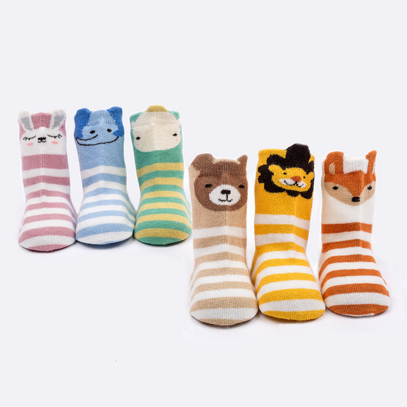 AiKway Infant Baby Socks Cartoon Cute Animal Striped Cotton Socks Newborn Boy Girl Breathable Non-slip Socks