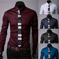 All Season Fashion Men  Long Sleeved  Plaid Printing  Turn-down Collar Slim Casual Shirts  Camisa Social Masculina AM