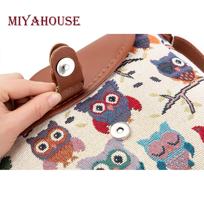 54c42064a2 Miyahouse Summer Women Messenger Bags Flap Bag Lady Canvas Cartoon Owl  Printed Crossbody Shoulder Bags Small Female Handbags