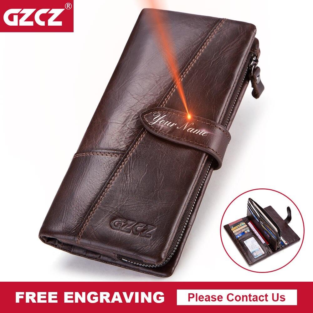 GZCZ Genuine Leather Wallet Men Luxury Brand Long Purse Man Walet Card Clamp For Money Vintage Men Handy Male Wallets Money Bag