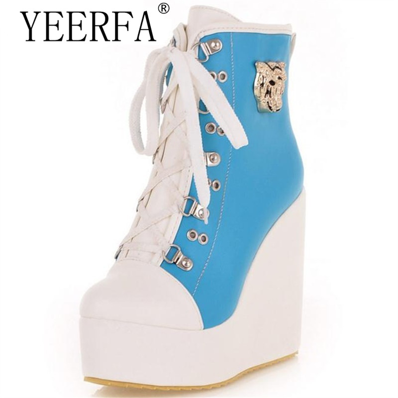 YIERFA Ankle boots women flat platform shoes winter wedges mixed colors lace-up tiger head decoration big size 34-43 eiswelt 2017 winter boots female plush ankle snow boots mixed colors comforty shoes wedges platform boots zqs089