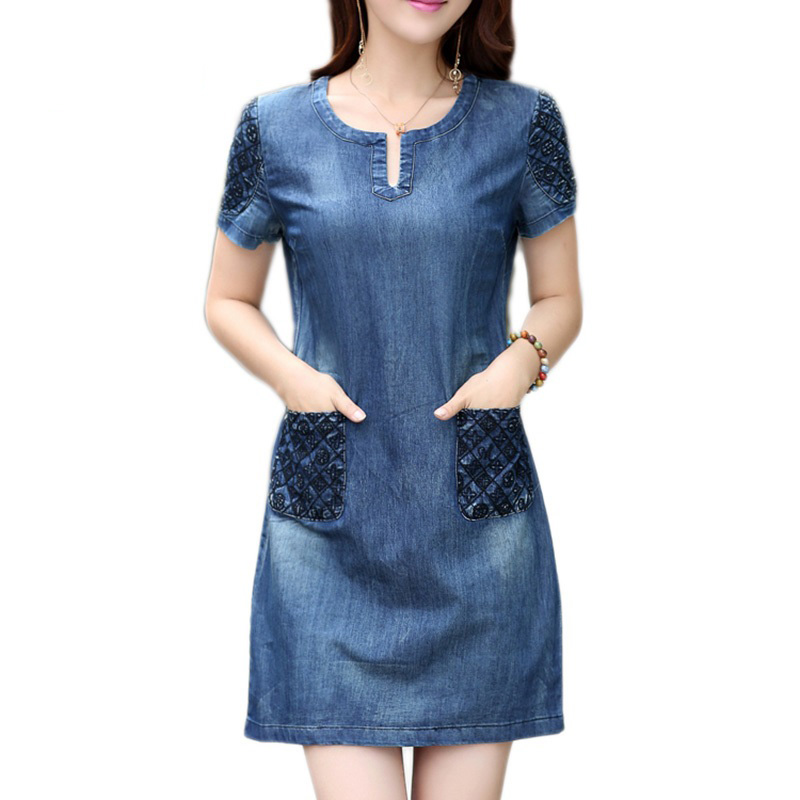 2017 spring Casual Korean denim dress summer female Korean version of the large size of the long paragraph short sleeve thin den