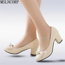 plus size 34-43 New Women Thick High Heel Shoes Women crystal Bowknot Heels Pumps Ladies Office Daily Footwear daily work dress taoffen women thick high heel shoes women patchwork bowknot heart buckle heels pumps ladies office daily footwear size 28 43