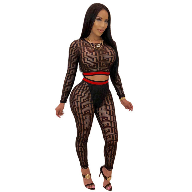 713338502171 Misstyle Two-Piece Suit Bodysuit See Through Rompers Women Jumpsuit Long  Sleeve Skinny Overalls Mesh Bodysuit Playsuit SJ3219