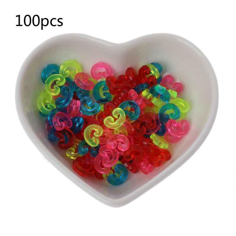 100 Uds niños mezcla colores c-clips s-clips bandas trenzadas de goma hacer pulsera DIY