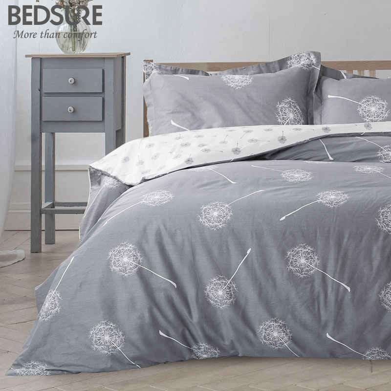 Bedsure Dandelion Floral Cotton Duvet Cover Set Grey White Reversible Comforter Cover
