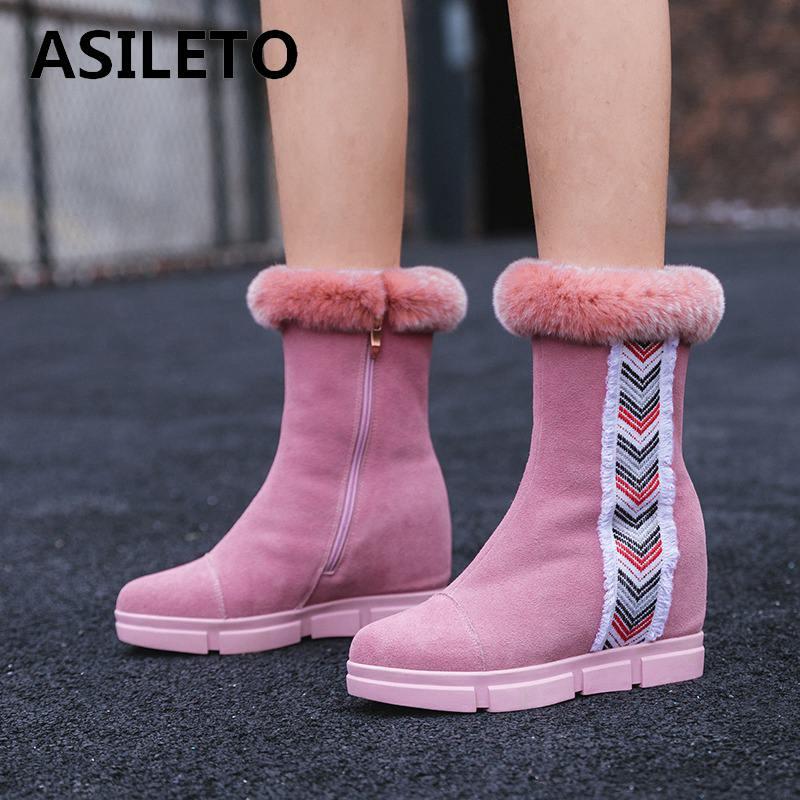 Réel pink Top Cuir Fourrure Asileto Vache En Femmes Coins Black S873 Cheville De Lapin Qualité Chaussures Pour Feminina Botas Bottes Neige fpwRqwxE