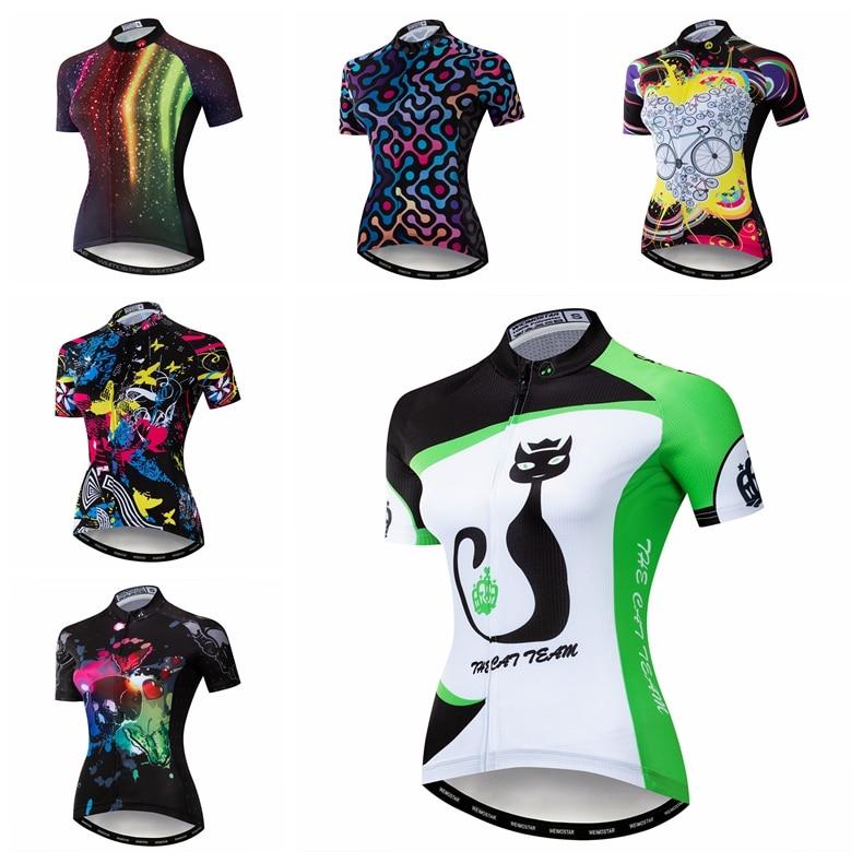 Cats Cycling Jersey Women Bike Road MTB Tops T-Shirt Short Sleeve Racing Blouse