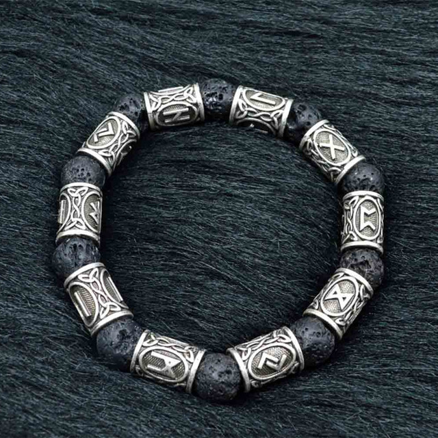 Mkendn New Arrival 13 10 10mm Viking Rune Lava Bead Bracelet Men