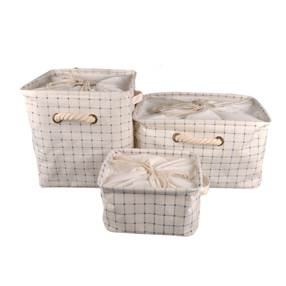 Storage Barrels Foldable Washing Clothes Laundry Basket Bag Hamper Folding Cotton Waterproof Toys Covered Storage Baskets Bucket