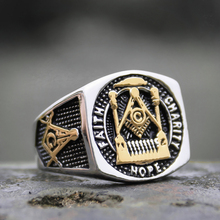 Mens Masonic Free-mason Statement Ring Gold Color Stainless Steel Freemasonry Signet Rings Biker Jewelry