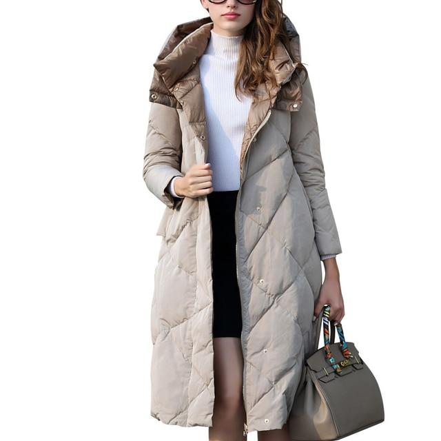Mujeres Parka de invierno Chaquetas Mujer Moda 2016 Larga Chaqueta de Color Caqui Abajo Abrigos Para Mujeres Ropa de Trabajo OL Femme Manteau Abrigo Ligero