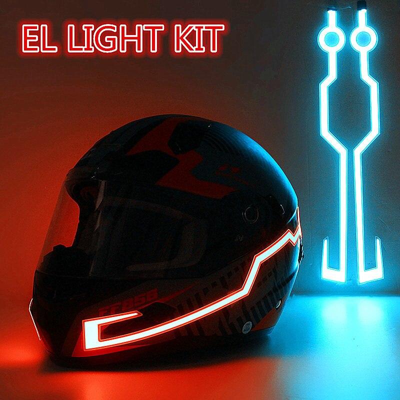 Auf Lager! Schnelles Verschiffen! Motorrad Helm EL Kalt Licht Helm Licht Streifen Nacht Signal Leucht Geändert Streifen Helm Aufkleber