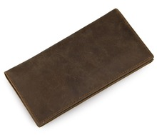 Genuine Cow Leather Mens Long Bifold Credit Card Holder Wallet Daily Cash 8100R