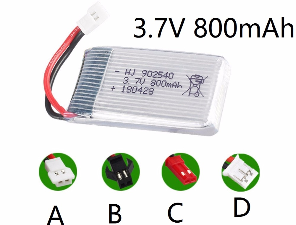 X5C X5SC X5SW M68 CX-10 905 3.7V 800mAHh JST SM XH2.54 Battery RC Quadcopter Helicopter Car Toys Spare Parts