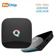 Q S905X Caja del Androide 6.0 Tv Box Quad Core 2 GB 16 GB 2.4G WIfi apoyo UHD 4 K H.265 Tv Smart Box PK T95N H96 Pro Plus Media jugador