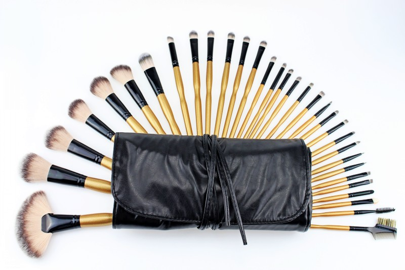 Wholesale 35Set/Lot Professional 32 Pcs Makeup Brushes Cosmetic Make up Brush Set Golden Gourd Handle Beauty Facial care+Bag professional bullet style cosmetic make up foundation soft brush golden white