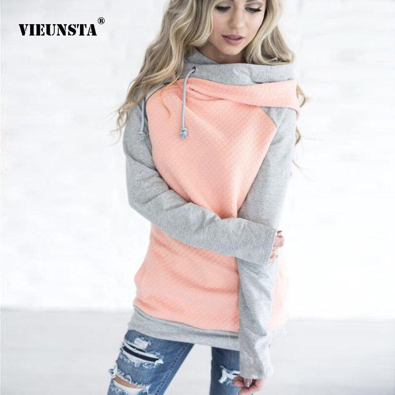 VIEUNSTA Oversize Hoodies Sweatshirt Zipper Hooded Patchwork Pullover Sweatshirt Women Autumn Winter Warm Coat Drawstring Hoodie