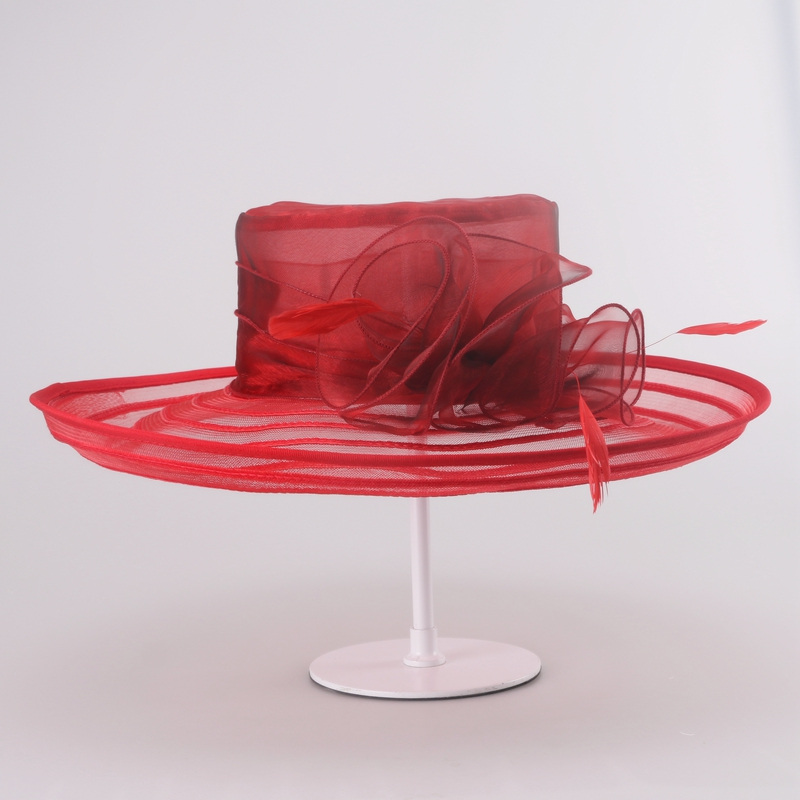 women red fedora hat