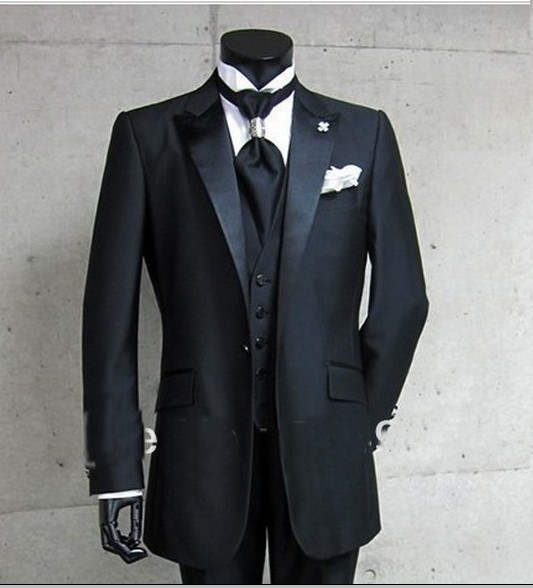 Hot Sale Slim Fit Fashion Black Groom Tuxedos,Wedding Party Groomsman Suit Boys Suit (Jacket+Pants+Tie+Vest) Bridegroom Suit