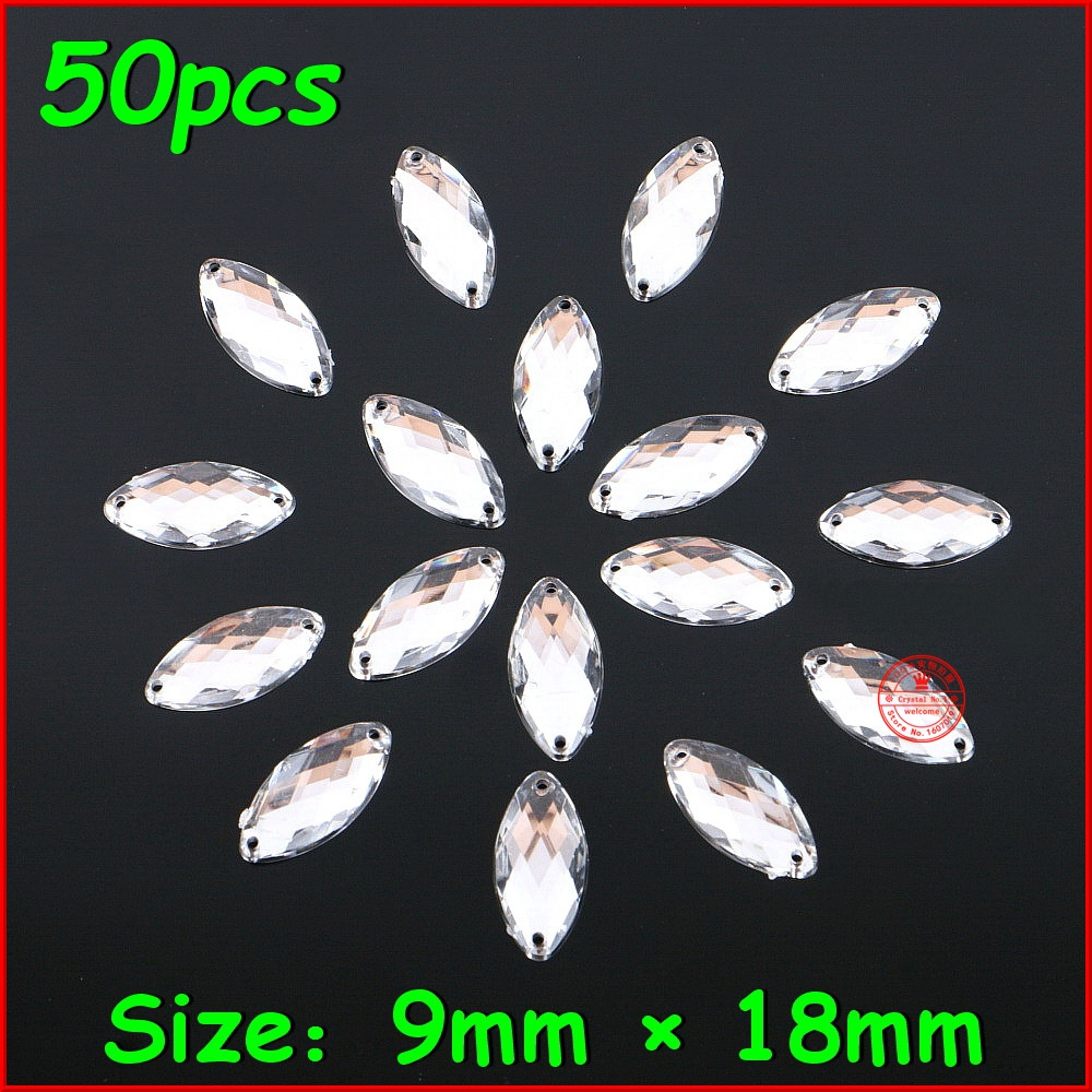 50pcs/lot 9mm*18mm Horse Eye Crystal Stone Sew On Rhinestone 2 Holes Sliver Flatback Acrylic Jewelry For Wedding Dress Clothes