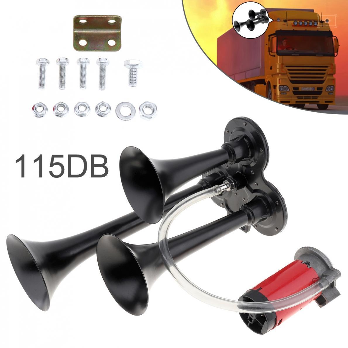 12V 115dB Super Loud Triple Tone Durable Air Horn Set Trumpet Compressor for Motorcycle Car Boat Truck
