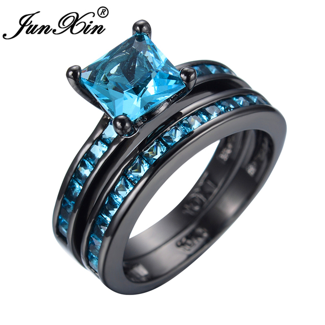 JUNXIN Latest Style Black Gold Plated Double Rings For Women Mens Antique Rings Wedding Summer Jewelry Bague Femme  RB0359